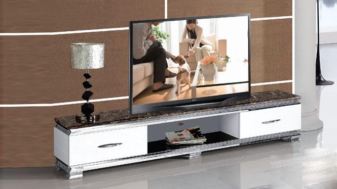 大理石电视柜时尚烤漆白亮光钢琴白人造板简约现代M983