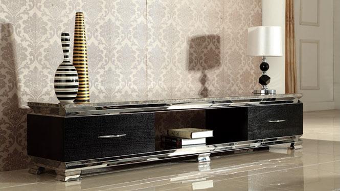 大理电视柜黑木皮不锈钢架时尚高档电柜机柜M987