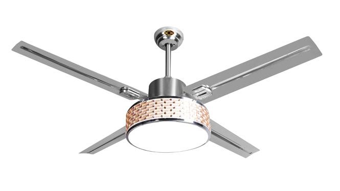 超亮LED水晶带灯吊扇灯现代简约时尚铁叶客厅卧室餐厅遥控风扇灯DB52017A-1SNT