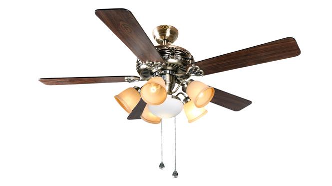 遥控吊扇灯简约时尚风扇灯餐厅吊扇灯客厅52寸欧式仿古风扇吊灯扇DB52010B-6ABM