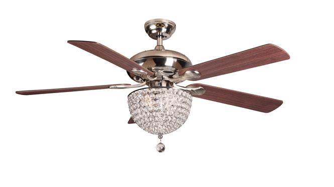 现代简约水晶风扇灯遥控吊扇灯52寸餐厅带负离子空气净化的吊扇灯DB52006-1SNM