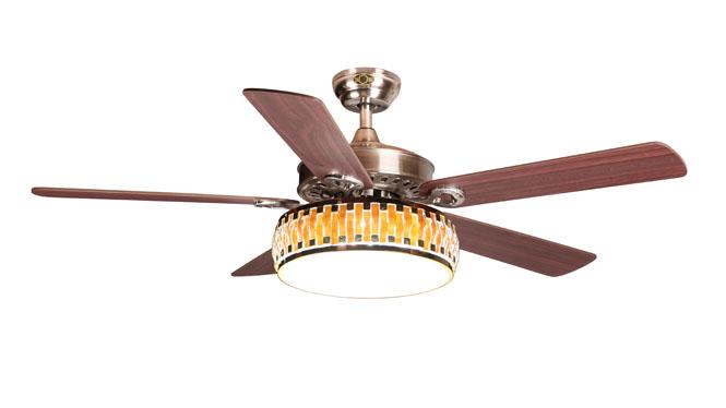 现代简约 餐厅美式风扇吊灯52寸客厅吊扇灯带led四色变光遥控吊扇DB52004-1SNM