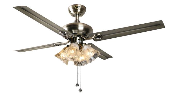 48寸铁叶风扇吊灯美式复古电风扇灯简约时尚欧式仿古餐厅吊扇灯DB42005-4ABT