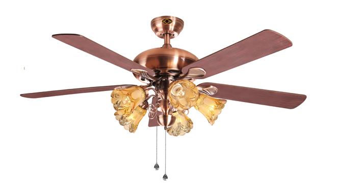 风扇灯吊扇灯客厅餐厅欧式美仿古复古负离子空气净化带风扇的吊灯DB52015-5HBM