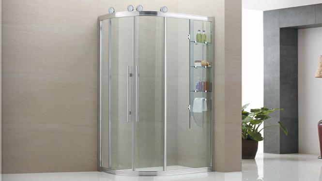弧扇形 简易淋浴房 淋浴房 整体 浴室隔断带内置物架8539D