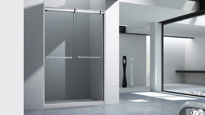 淋浴房 浴室 浴屏 钢化玻璃隔断一字型洗澡间浴房 不锈钢淋浴房1563