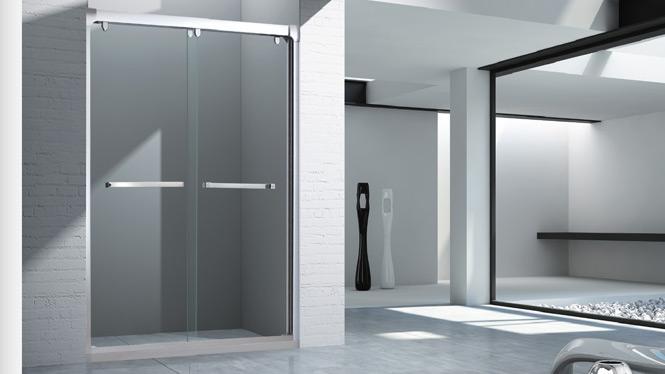 淋浴房整体浴室隔断拉门铝合金一字型屏风移门 简易淋浴房1569