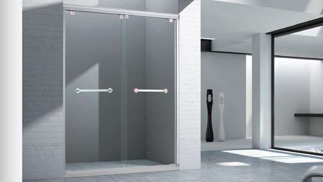 一字型屏风整体浴室隔断推拉钢化玻璃移门淋浴房1556