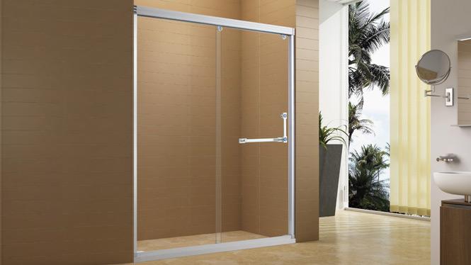 铝合金淋浴房 淋浴隔断一字型淋浴室钢化玻璃整体淋浴房7652