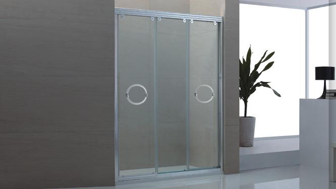 一字型简易铝材淋浴房移门沐浴房整体浴室钢化玻璃1552