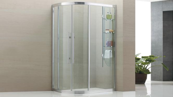 时尚新品扇形钢化玻璃浴室冲凉简易淋浴房带内置物架8539