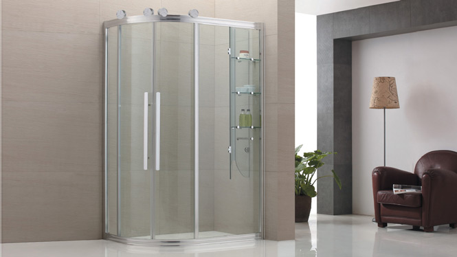 弧扇形淋浴房浴室洗浴房隔断门挡水滑门带内置物架8538D