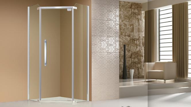 卫生间钻石型推拉门隔断钢化玻璃铝合金淋浴房 A15B