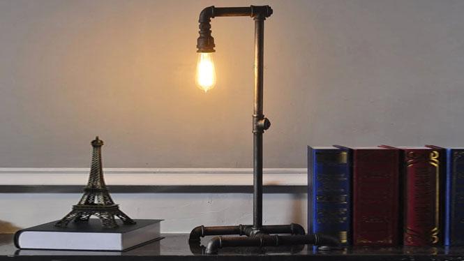 爱迪生灯泡水管台灯复古工业个性咖啡馆灯具卧室灯台灯CH2565