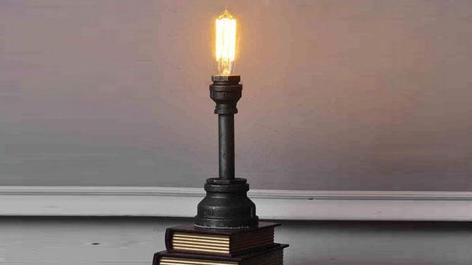 创意铁艺水管台灯复古工业风爱迪生装饰酒吧咖啡厅装饰CH2561