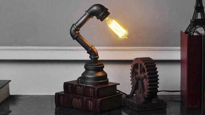 创意铁艺水管台灯复古工业风爱迪生装饰酒吧咖啡厅装饰台灯CH2563