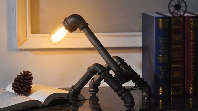 创意铁艺装饰水管台灯 铁艺灯复古时尚个性书房装饰台灯具CH2562