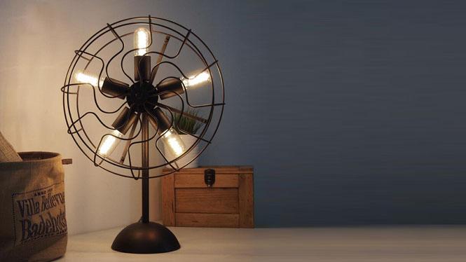 Loft客厅卧室美式乡村复古欧式简约个性创意铁艺电风扇台灯