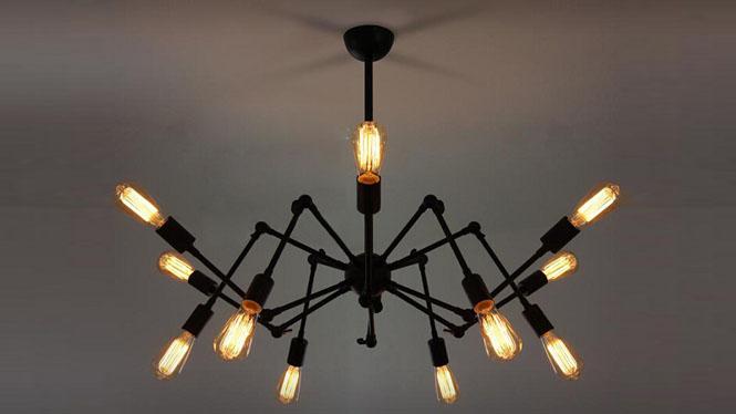 艺术设计铁艺蜘蛛吊灯 创意客厅装饰照明灯 黑寡妇吊灯复古餐厅灯CH3856