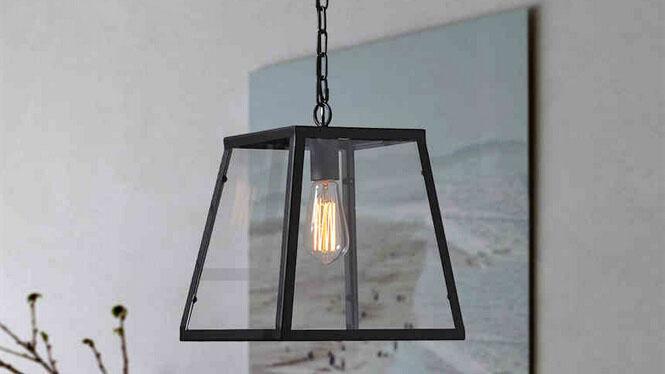 欧美式乡村现代简约单头铁艺玻璃吊灯客厅餐厅阳台玻璃箱吊灯