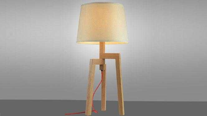 创意台灯_个性木头台灯 创意木艺台灯 卧室床头实木 北欧风格装饰