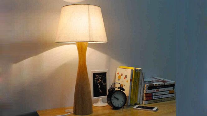 木质台灯_创意木质实木简约欧式原木客厅书房卧室床头灯饰