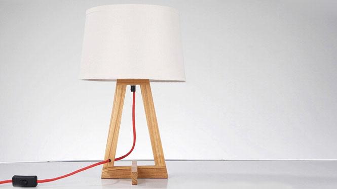 木质台灯_led欧式原木台灯创意木质实木台灯简约客厅书房卧室床头