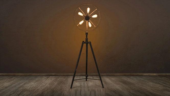 客厅卧室灯_loft创意风美式乡村欧式客厅卧室灯个性创意电风扇落地灯CH3861-B
