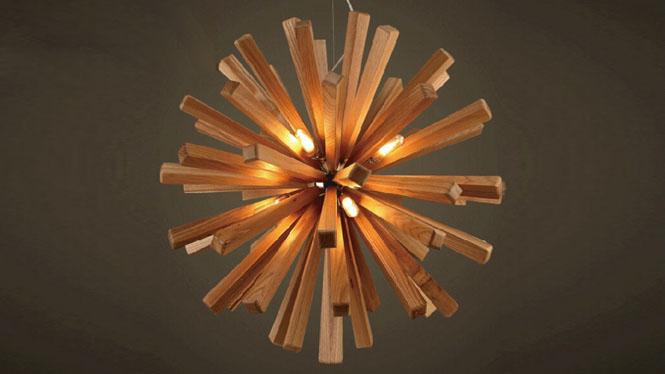 客厅吊灯_创意个性灯具北欧宜家餐厅简约木艺实木制 CH9824