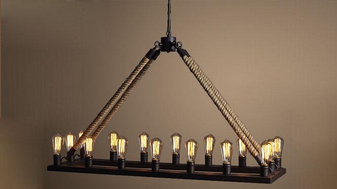 餐厅吊灯_欧美乡村餐厅吊灯客厅灯复古16多头工业长城古堡WD-021-16-18