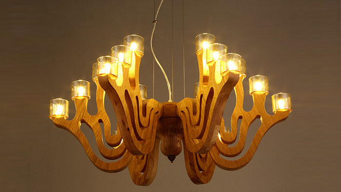 创意灯具_艺术创意灯具酒店餐厅客厅咖啡厅简约实木制木艺吊灯18-27头CH9819