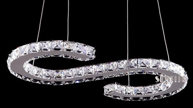 吊灯后现代简约S型时尚餐厅LED吊灯客厅吧台灯书房卧室儿童灯具B7505