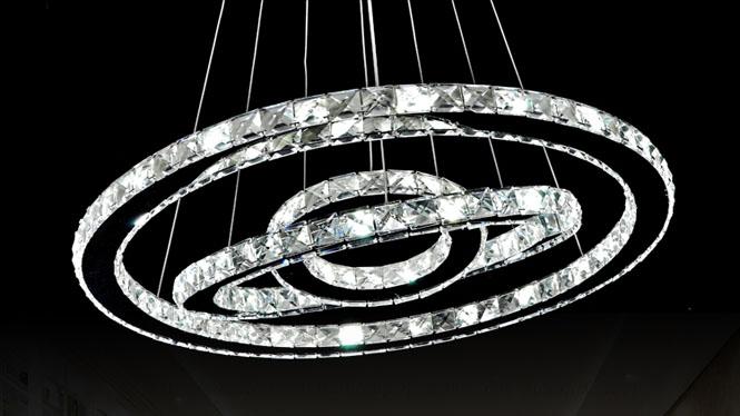 现代简约LED水晶吊灯圆形客厅灯创意不锈钢餐厅卧室书房艺术灯饰B7511