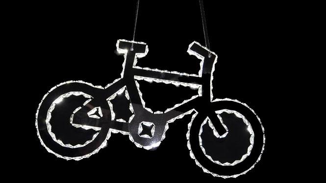 现代简约LED自行车水晶灯餐厅卧室房间创意楼梯饭厅不锈钢吊灯B7512