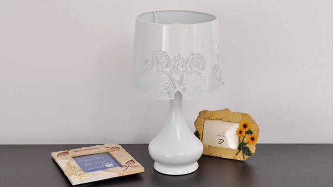 田园台灯欧式灯卧室玫瑰台灯床头北欧宜家台灯雕花现代白色台灯具BT-R124