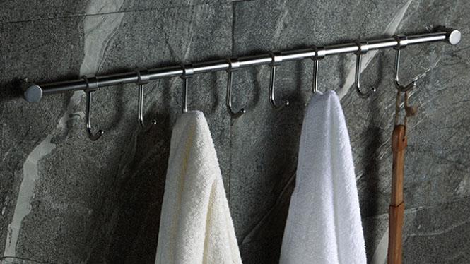 304不锈钢厨房浴室活动挂钩排钩挂杆实心挂衣钩毛巾挂 壁挂LJ806