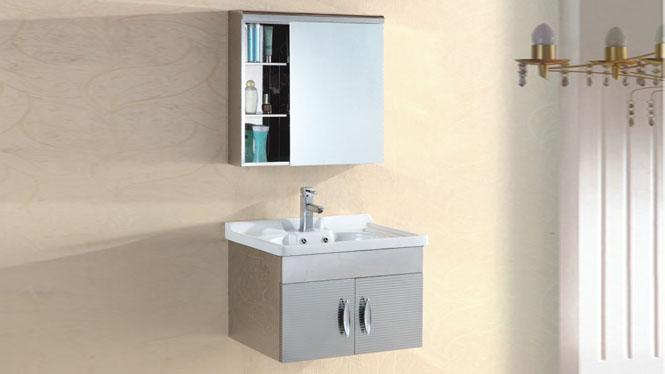 不锈钢浴室柜组合 挂墙式 洗手台 洗手盆面柜组合600mm 15511