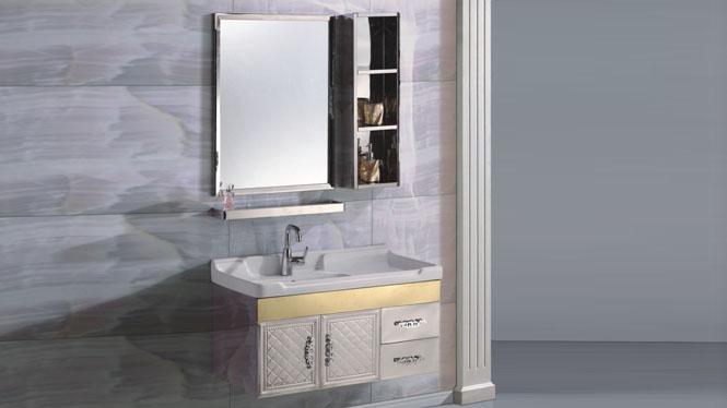 不锈钢浴室柜洗脸盆柜组合洗手盆卫生间面盆卫浴柜挂墙式900mm 15509