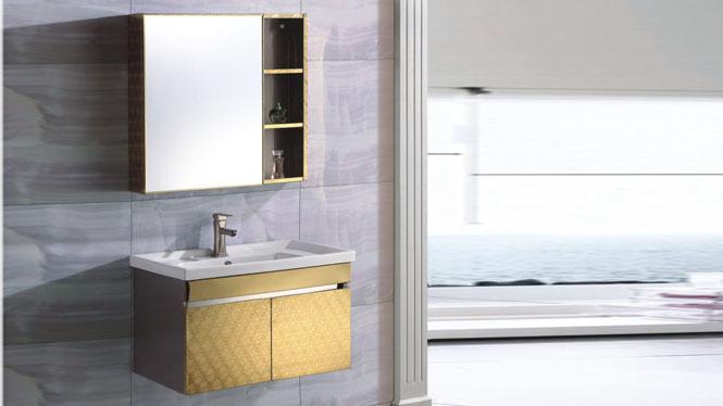 不锈钢浴室柜组合 洗手盆柜 洗面台盆柜挂墙式700mm 15506
