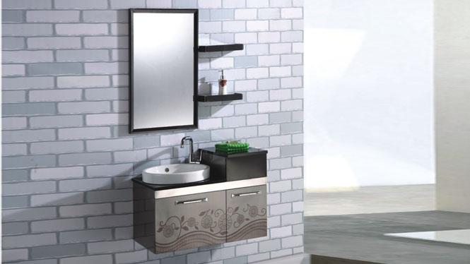 不锈钢浴室柜组合 现代简约洗脸洗手盆柜挂墙式850mm 15505