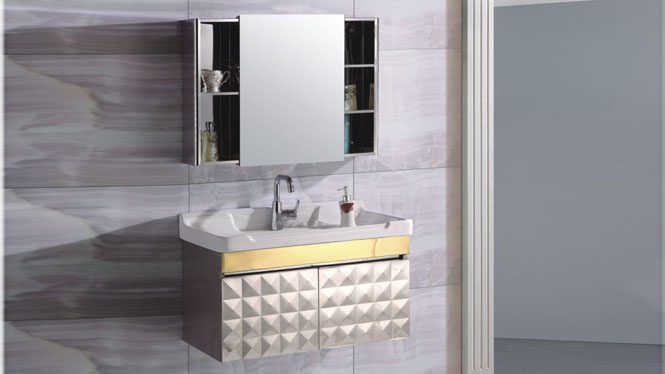 不锈钢浴室柜组合卫浴柜洗手脸盆柜 现代简约挂墙式吊柜800mm 15504