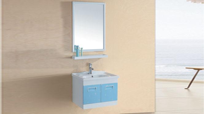 太空铝浴室柜一体陶瓷洗手盆带镜柜边柜组合挂墙式600mm 15100