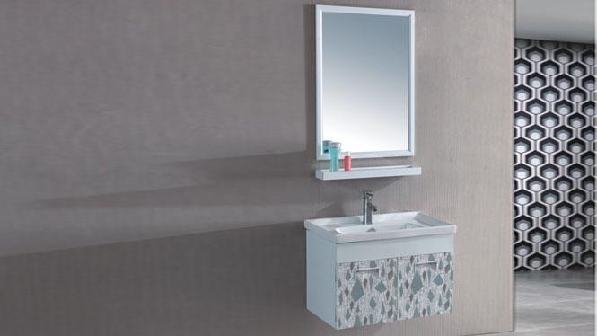 太空铝浴室柜卫生间洗脸盆柜洗漱台池洗手台盆挂墙式700mm 15099