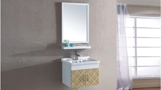 太空铝浴室柜组合 卫浴柜洗手盆含镜子 吊挂卫生间洗脸面盆600mm 15096