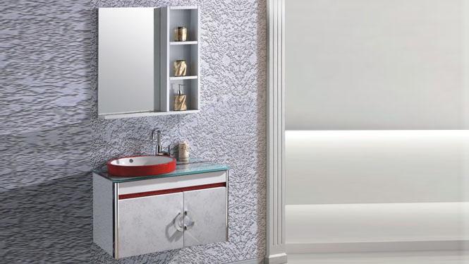 太空铝浴室柜组合现代简约挂墙式卫生间洗漱台卫浴柜800mm 15027