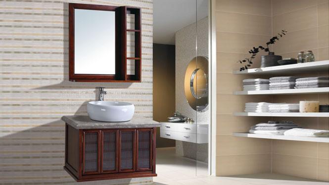 日式实木浴室柜挂墙式吊柜卫浴柜洗脸盆柜组合800mm BN-2014006B