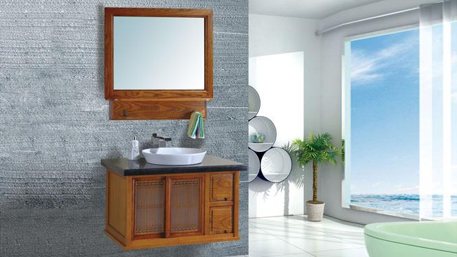 日式实木浴室柜组合挂墙式洗脸台面盆柜镜柜卫浴柜800mm BN-2014002