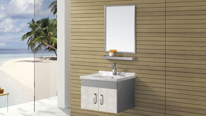 挂墙不锈钢浴室柜梳妆组合 卫浴柜洗脸盆组合T-9443  600mm700mm800mm