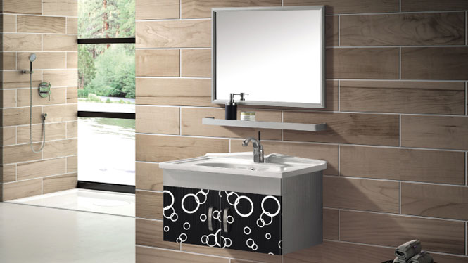 挂墙式浴室柜 台上盆柜 不锈钢浴室柜组合T-9471 600mm800mm