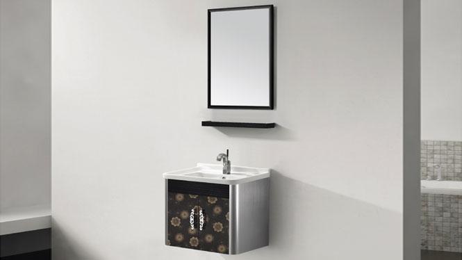 挂墙式不锈钢浴室柜梳妆组合 卫浴柜洗脸盆T-9438  700mm600mm800mm